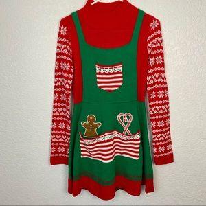 Xhiliration Ugly Christmas  Sweater Elf Dress